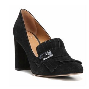 Franco Sarto black shoes Ainsley heels fringe box